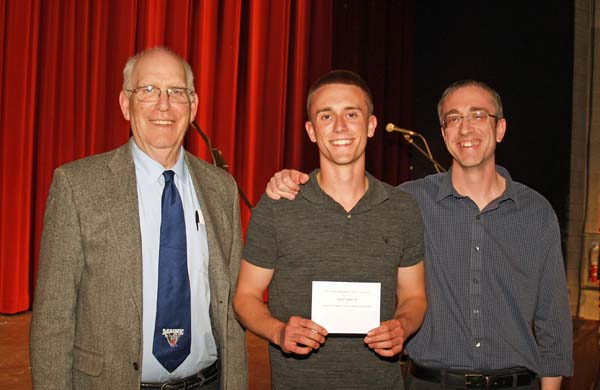 David Burks, Dylan Taplin  '18 (recipient of $2,000 Tracy Family scholarship), Jay Taplin